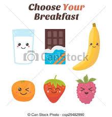 Choose Your Breakfast Healthy Lifestyle Cute Kawaii Food Characters