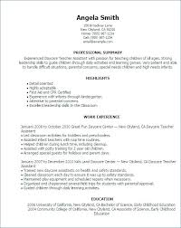 Child Care Sample Resume Childcare Templates Best Of Daycare