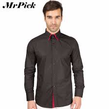 collection fashion mens dress shirts casual slim cufflinks french