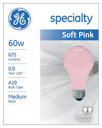ge lighting 97483 60 watt 675 lumen a19 light bulb pink 2