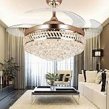 Lovely Colorled Modern Crystal Remote Control Transparent Acrylic Blade For Chandelier Dining Room