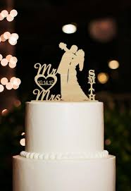Mr And Mrs Wedding Cake Topper Silhouette Bride Groom Kiss Custom Last Name With Date Rustic