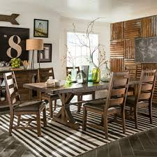 Taos 7 Pc Dining Set With Trestle Table And Ladder Back Chairs