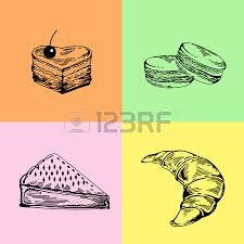 Hand drawing pastry bakery products Elements for cake