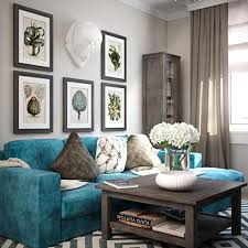 Chevron Carpet With Enticing Wall Decor And Rustic Wooden Coffee Table For Modern Teal Living Room Ideas