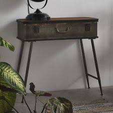 Vintage Industrial Console Table Furniture Hall Cabinet Wooden Top Metal Frame