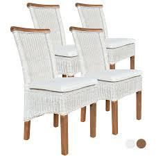 esszimmer stühle set rattanstühle perth 4 stück weiß