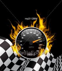 Auto Racing Flag On Photo Background With Burning Speedometer And Checkered