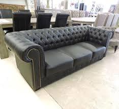 canapé chesterfield cuir gris les salons