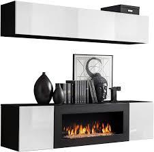 moderne wohnwand mit kamin bioethanol flyer n1 elegante anbauwand mit kamineinsatz schrankwand wohnzimmer set tv lowboard vitrine schwarz weiß