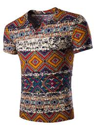 abstract printed short sleeves v neck t shirt for men rosegal