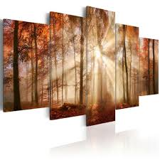 dekoration vlies leinwand bilder wald grün landschaften