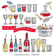 Vector Collection Of Vintage Party Essentials Icons Hand Drawn Illustration With Cocktails Wine Glasses