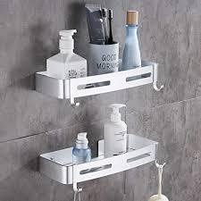 hoomtaook duschregal ohne bohren duschkorb ablage organizer nagelfrei selbstklebend space aluminum kein schaden wandhängend für badezimmer küche 2
