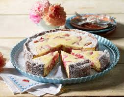 rhabarber kuchen mit quark eier sahne guss
