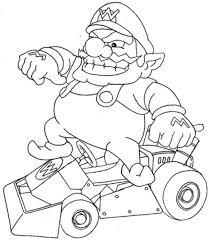 Wario Mario Coloring Page For Kids