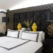 Via Desire To Inspire Black Yellow And Gray Bedroom Colors Love The Glossy Lacquer Ginger Jars White Bedding With Frame
