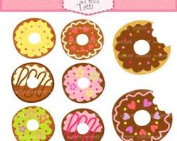 ON SALE Donut Clip Art Cute Kawaii Digital For All Use Instant Download