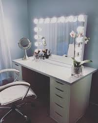 Awesome Storjorm Mirror With Builtin Light White Applying Makeup Image Vanity Table For Trends And Rustic