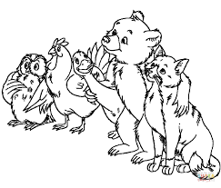 Hen Goose Little Bear And Cat Coloring
