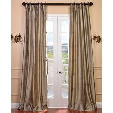 Shop EFF Signature Beige Textured Silk Curtain Panel Free Shipping