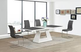 100 White Gloss Extending Dining Table And Chairs High Grey Glass 6 With