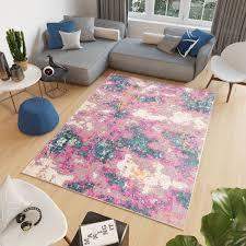 cosmo teppich kurzflor modern abstrakt rosa orange blau grau design
