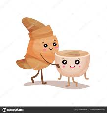 Cute Croissant And Coffee Cup Characters Cartoon Vector Rh Depositphotos Com Chocolate Clip Art