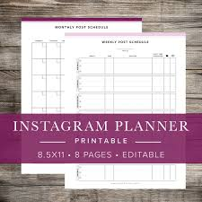 Instagram Social Media Planner INSTANT DOWNLOAD Printable Etsy