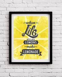 When Life Gives You Lemons Kitchen Print Motivational Quote Optimistic Poster Typographical Art