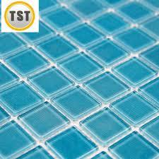 Blue Mosaic Bathroom Mirror by Ocean Blue Backsplash Tile Glazed Porcelain Pebble Tile Ocean
