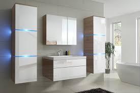 badmöbel set new weiß hochglanz sonoma eiche keramik waschbecken badezimmer led beleuchtung badezimmermöbel keramikbecken holzoptik