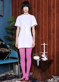 white tunic tee with corset shopperboard