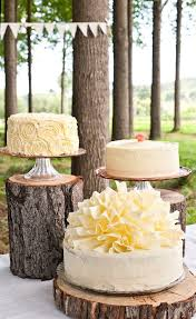 Love The Tree Stump Cake Stands And Why Not Have 3 Flavors Instead Of A Single Flavor Tiered