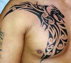 Dragon Tribal Tattoo On Chest And Shoulder