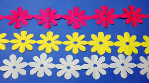 Paper Cutting Decoration How To Flower Chain Christmas Decorations Step By