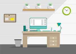 bureau clipart clean interior office concept with computer and household tools