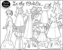 In The 1940s Paper Doll Coloring Page And Pages Dolls