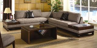Furniture Discount Living Room Furniture With Wooden Table And Black Cushion And Lamp And Sofa