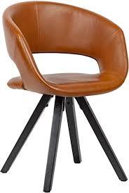 wohnling esszimmerstuhl kunstleder braun mit schwarzen beinen stuhl retro küchenstuhl mit lehne polsterstuhl maximalbelastbarkeit 110 kg