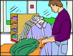 Clipart Image Of A Man In Purple Shirt Shopping For Clothes Royalty Free Picture