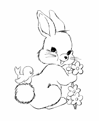 Rabbit Coloring Pages With Bird And Flowers