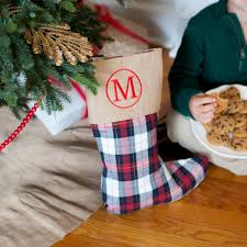 Monogram Plaid Christmas Tree Skirt And Stockings Set Burlap Monogrammed Personalized