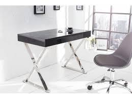 bureau design noir laqu design laqué noir elyse 100 cm