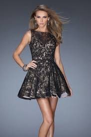 short black lace dress with full skirt above the knee with high