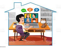 karikatur eines mannes sitzt um zu hause aus im wohnzimmer zu arbeiten stock vektor und mehr bilder ansteckende krankheit