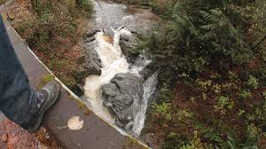 POV Low Angle Of Hiker Boots Walking To Edge Bridge Looking Down At Raging River Waterfall In Pacific Northwest Mountain Forest Stock Video Footage