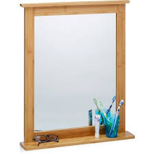 wandspiegel bambus badspiegel mit ablage spiegel zum aufhängen für wohnzimmer und badezimmer natur