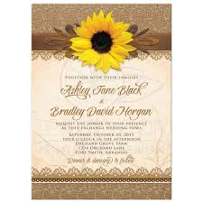 Rustic Lace Burlap Wood And Yellow Sunflower Country Wedding Invitation Front