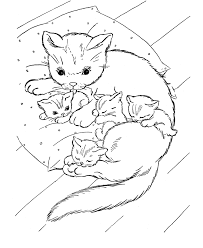 Cat Coloring Page And Kittens On Pillow Book Download Print